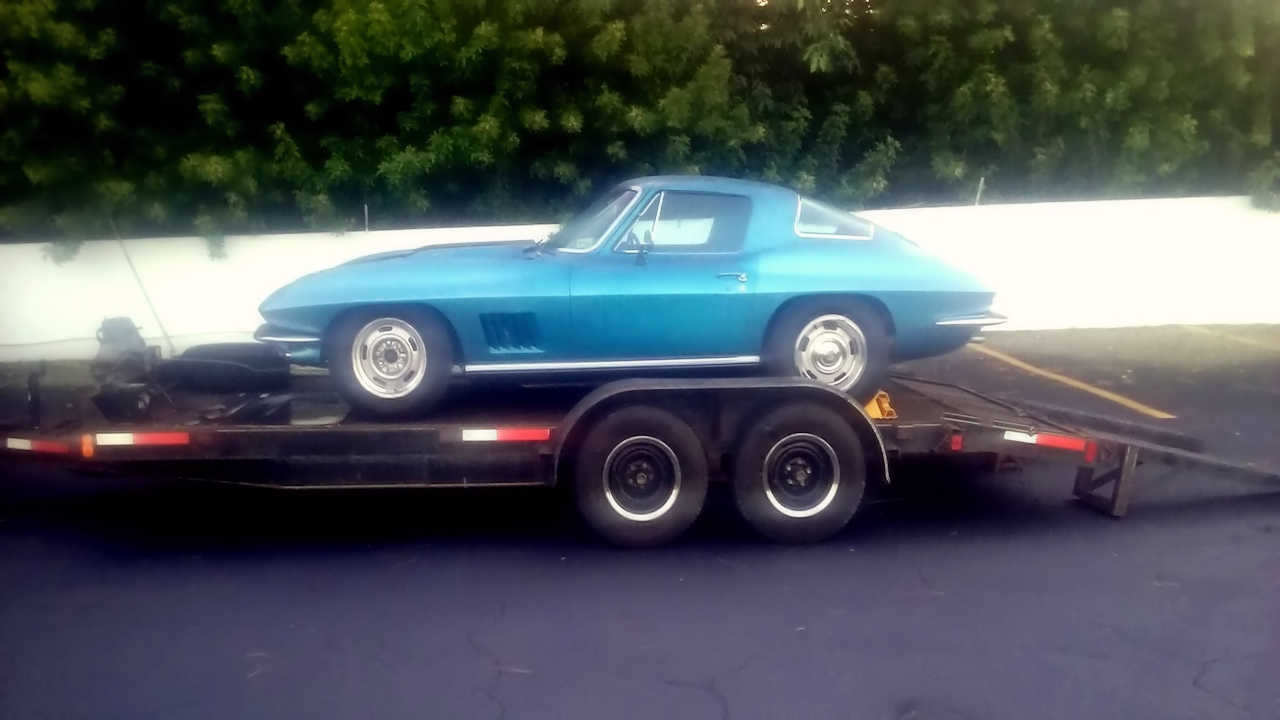 Neil Armstrong's Corvette on a Trailer